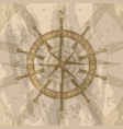 vintage wind rose on background of world map vector image