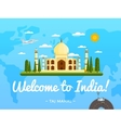 Welcome to India poster with famous attraction vector image vector image