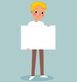 young man holding blank sign vector image vector image