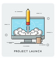 project launch and start up thin line concept vector image