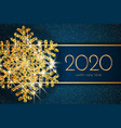 2020 happy new year greeting card gold snowflake vector image