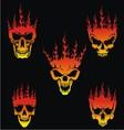5 Burning Skulls vector image vector image
