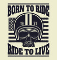 aggressive vintage t-shirt print with skull vector image