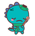 an aching dinosaur with a thermometer stickers vector image
