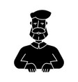beard man icon black sign on vector image