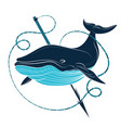blue whale and harpoon vector image