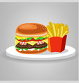 burger hamburger food meal potato fries fast food vector image vector image