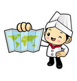 cartoon cook character is holding a world map vector image vector image