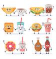 cartoon food characters junk food mascots vector image vector image