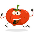 cartoon happy tomato character running vector image vector image