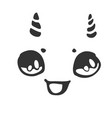 cheerful little face with horns vector image vector image