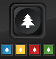 Christmas tree icon symbol Set of five colorful vector image vector image