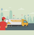 delivery courier holds a tablet in his hand with a vector image