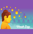 face side buddha for vesak day greeting card vector image