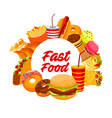 fast food snacks burgers and desserts menu vector image vector image