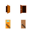 flat icon approach set of entrance entry vector image
