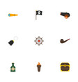 flat icons flame telescope bottle and other vector image vector image