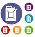 fuel jerrycan icons set vector image vector image