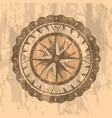 grunge gray background with compass rose vector image