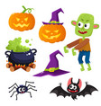 halloween set - witch hat caldron pumpkin vector image vector image
