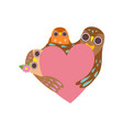 happy family owls with pink heart father vector image