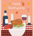 happy thanksgiving baked turkey apples wine vector image vector image