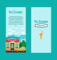 ice cream flyers with shop building vector image vector image