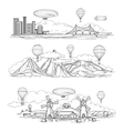 Landscapes with hot air balloons parade vector image vector image