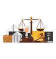 law and justice set isolated on white flat vector image