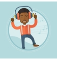 Man listening to music in headphones and dancing vector image vector image