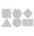maze labyrinth game in different graphic shapes vector image vector image