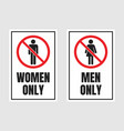 men only and women only signs no men and no women vector image vector image
