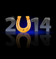 new year 2014 metal numerals with golden vector image vector image