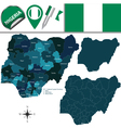 Nigeria map with named divisions vector image vector image