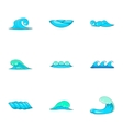 Ocean waves icons set cartoon style vector image vector image