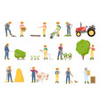 people working on farm in garden banner vector image