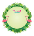 pink flamingo with tropical jungle round frame vector image vector image