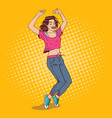 pop art joyful young woman dancing excited girl vector image