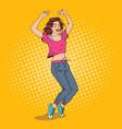 pop art joyful young woman dancing excited girl vector image vector image
