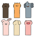 set animal bookmark vector image vector image