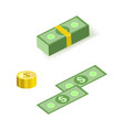 set isometric bill money currency elements vector image vector image