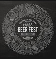 set of beer fest cartoon doodle objects round vector image vector image