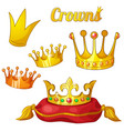set of royal gold crowns isolated on white vector image