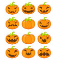 set of terrible and smiling pumpkins for vector image