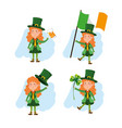 set st patrick woman with beer and clover vector image