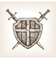 Shield and sword sketch style vector image vector image