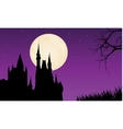 Silhouette of castle and full moon vector image vector image