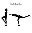 single leg row exercise silhouette vector image vector image