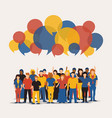 social people group with colorful chat bubbles vector image vector image