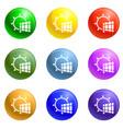 solar panel energy icons set vector image